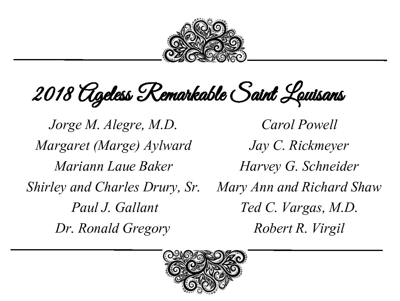 The 2018 St. Andrew's Ageless Remarkable St. Louisans Honorees